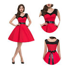 Vintage Housewife Rockabilly Swing RED Cotton 40's 50s Pinup EVENING Party Dress