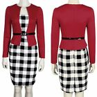 Women Colorblock Plaid Cocktail Wear to Work Evening Party Bodycon Pencil Dress