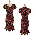 Women Celebrity Pinup Cherry Printed Evening Party Cocktail Mermaid Wiggle Dress