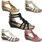 WOMENS LADIES FLAT MID WEDGE HEELS ZIP OPEN TOE SUMMER BEACH FLOWER SANDALS SIZE