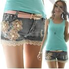 super Women Girls Retro Wash Denim Lace Flower Hole Shorts