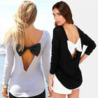 Summer Fashion Lady Shirts Bow-Knot Long Sleeve T-Shirt Casual Tops XS/S/M/L TOP