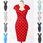 Sexy Vintage Retro Wiggle 40s 50's Polka Dots Rockabilly Pencil PARTY Dot Dress