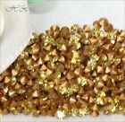 Swarovski Vintage Light Topaz 1012 Crystal pointed Chatons Gold Foiled GF 1.6mm