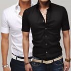 New Mens Summer Short Sleeve Tee Tops Button Shirts Casual Formal Dress T-Shirts