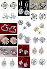 Various 925 Sterling Silver Drop and Stud Round Crystal Earrings CZ Womens gifts