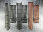 New 21mm Black Leather Strap Curve Edge Light Pad Thin Watch Band fit LONGINES