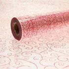 Red Scroll Cellophane Swirl Roll Gift Hamper Clear Film Florist Wrap 1m - 100m