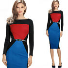 Women Illusion Colorblock High Quality WEAR TO Work Party Formal Pencil Dress SR