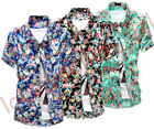 Men Fashion Summer Casual Shirt Short Sleeves Floral Flower Print Slim Tee Tops