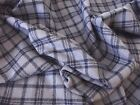 100% Pure Wool Check Tweed Fabric Material - PURPLE NAVY