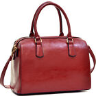 Women Handbag Classic Leather Shoulder Bag Deep Gloss Barrel Bag Body Satchel