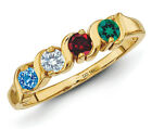 14K Solid Gold Mother's Day Ring 1 to 5 Birthstones, Moms...
