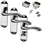 Chrome Door Handle Lever Handle Polished Set Mortice Latch Lock Bathroom New