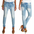Girlfriend Jeans Damenhosen Baggy Röhrenjeans Used Stretch blau Neu 6153