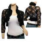 Jr Plus size 3/4 Sleeve Lace Bolero Shrug Black
