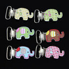 10PCs Cute Elephant Baby Pacifier Clips Purse Craft  Wood Metal Holders Hot Sale