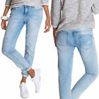 Boyfriend Destroyed Damen Jeans Loose Fit Damenhosen Straight Cut blau Neu 6157