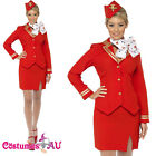 Ladies Red Trolley Dolly Virgin Air Hostess Flight Attendant Fancy Dress Costume