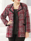 ULLA POPKEN Tweed & Chenille RED Plaid Jacket Blazer Size 28/30 LAST ONES