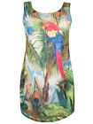 PLUS SIZE Sleeveless Trompe L'oeil 3D PARROT Print Tunic Top Size 22/24 & 26/28