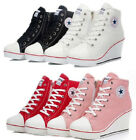 "New Womens Ladies Canvas High Heel 3"" Side Zip Wedge Sneakers Shoes US 6~9.5"