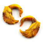 Acrylic Yellow Mustard Look Swan Wing Bird Design Ear Hook Taper Plugs Gauges