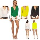 Stylish Lady V-neck Zipper Long-sleeved Chiffon Blouse Shirt Top Elegant