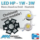 LED HP 1W, 3W, dissipateur aluminium - Blanc froid/chaud - Support PCB