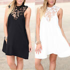 Women Backless Lace Floral Sleeveless Party Evening Short Mini Dress Cocktail