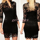 Women Black V-Ncek 3/4 Sleeve Sexy Lace Slim Cocktail Party Dress Skirt Clothing