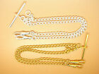 Silver or Gold Plated Light Pocket Watch Chain Albert Double Curb Links 5.2x7mm