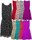 LADIES WOMENS POLKA DOT DETAIL SWING SKATER DRESS ELASTICATED WAIST TOP ONE SIZE