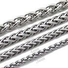 "MENS 3/4/6MM 20""/22"" Silver Stainless Steel Wheat Braided Chain Necklace Hot New"