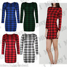 Womens Ladies Long Sleeve Tartan Scottish CheckTunic Bodycon Mini Dress  8-14