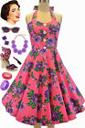 50s Style Miss Mabel BRIGHT PINK ROSE FLORAL Pinup HALTER Sun Dress with BUTTONS