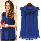 Fashion Women Summer Casual Sleeveless T-Shirt Chiffon Blue Tops Shirts M L XL