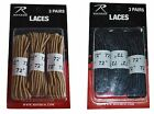 3 Pack 72 Inch Nylon Boot Laces Military Black Desert Tan Work Boot Laces New