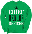 Funny Christmas Crewneck Sweatshirt Chief Elf Officer Santa Hat
