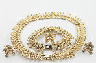 18K Gold Plated Rhinestone Necklace Bracelet Ring Earrings Women Jewellery Set
