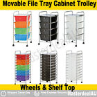 Movable File Tray Storage 4/10 Drawer Plastic Cabinet Metal Trolley Shelf Office