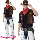 Mens Fringe Cowboy Costume Texas Rodeo Sheriff Western Wild West Fancy Dress