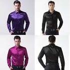 New Luxury Men's Silk-Like Satin Button Down Casual Shirts Dress Shirts S/M/L/XL
