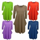 LADIES WAIST FLARED DRAPE EMPIRE MAGIC SWING DRESS WOMENS PLAIN TOP 8 10 12 14