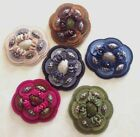 "FELTED 3-D APPLIQUE Layered Flowers 2 3/4"" Hand Sewn FELT BEADS 1pc FLORETTES"