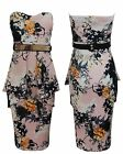WOMENS LADIES FLORAL PRINT BANDEAU BOOBTUBE PEPLUM BELT BODYCON MIDI DRESS 8-16