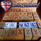 28pcs Alphabet Rubber Stamps Wooden Box Set Vintage Style Wood Letters Number UK