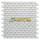 "Carrara White Marble Mosaic Tile, CWMM5854, 5/8""X1-1/4"" Brick, Polished"