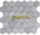 "Carrara White Marble Mosaic Tile, CWMM2HEX-H, 2"" Hexagon, Honed"
