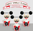 Vintage strongman circus Fathers Day Dad Party Cupcake Toppers PRECUT cup cake